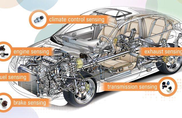 Grafik Sensoren im Auto, hergestellt in Bulgarien